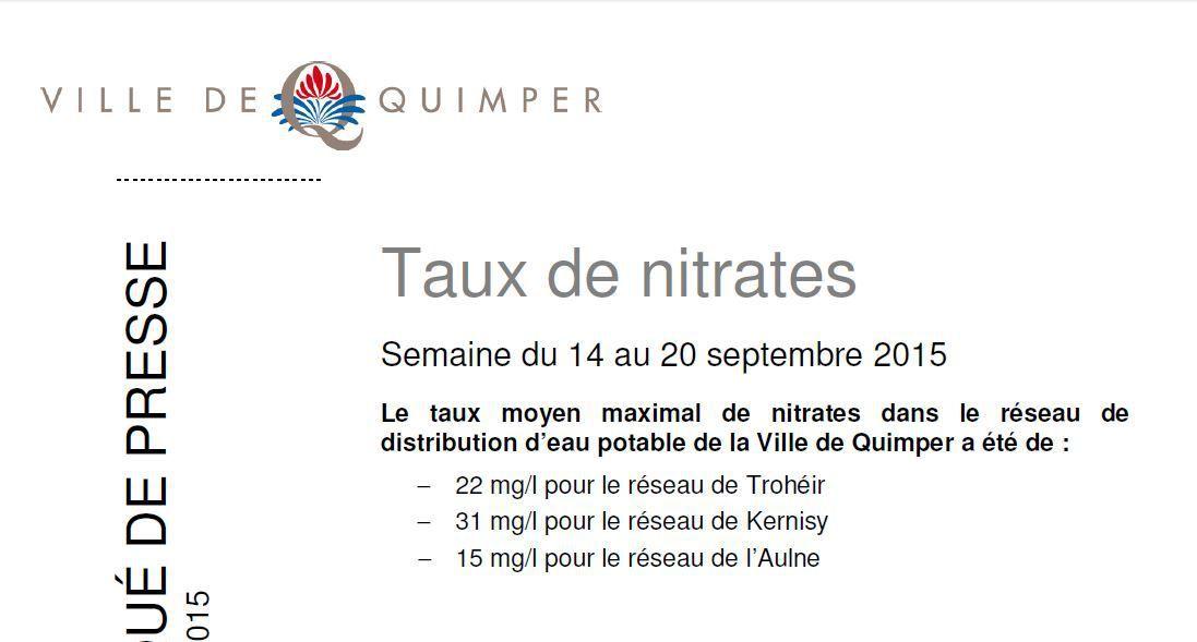 Taux de nitrates à Quimper du 14 au 20 septembre
