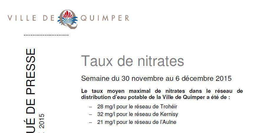 Taux de nitrates à Quimper du 30 novembre au 6 décembre