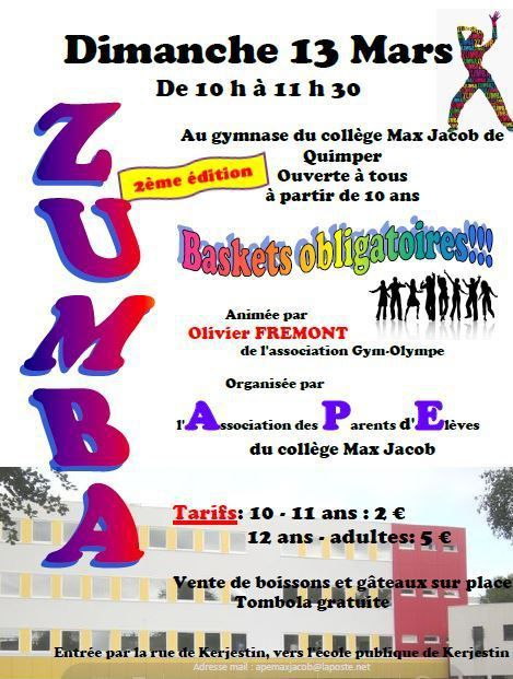 A noter pour le 13 mars : la Zumba 2 de l'APE du collège Max-Jacob