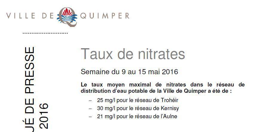 Taux de nitrates à Quimper du 09 au 15 mai