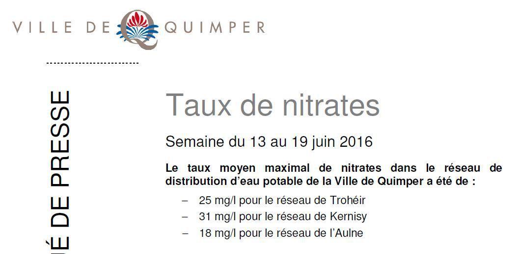 Taux de nitrates à Quimper du 13 au 19 juin