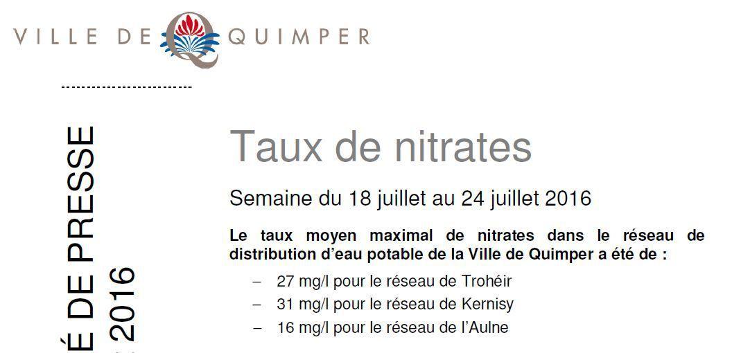 Taux de nitrates à Quimper du 18 au 24 juillet