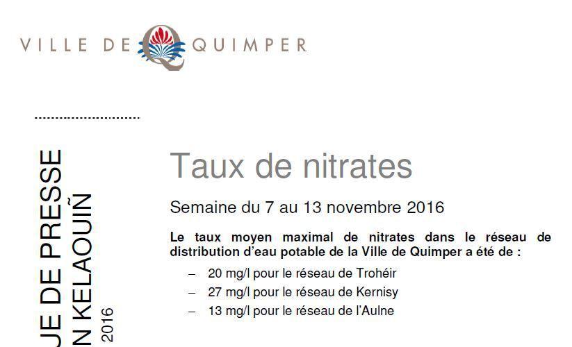 Taux de nitrates à Quimper du 7 au 13 novembre