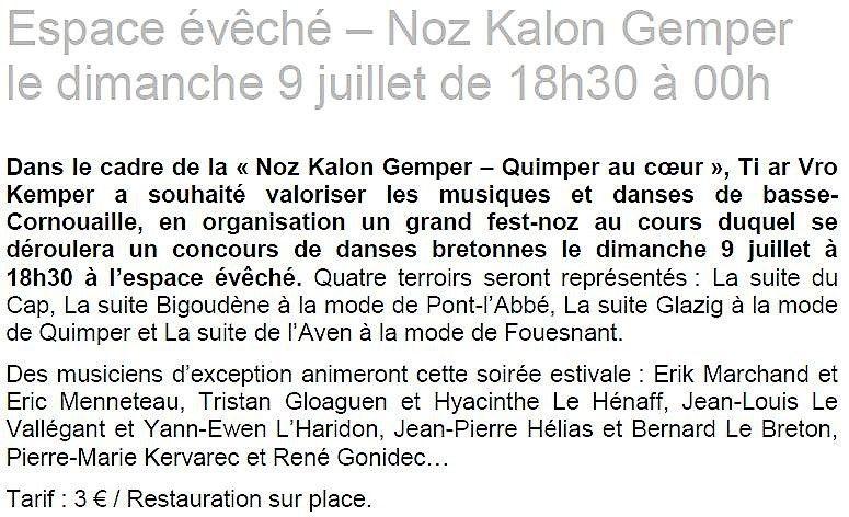 Concours de danses et fest-noz à partir de 18h30, dimanche, au Jardin de l' Évêché à Quimper