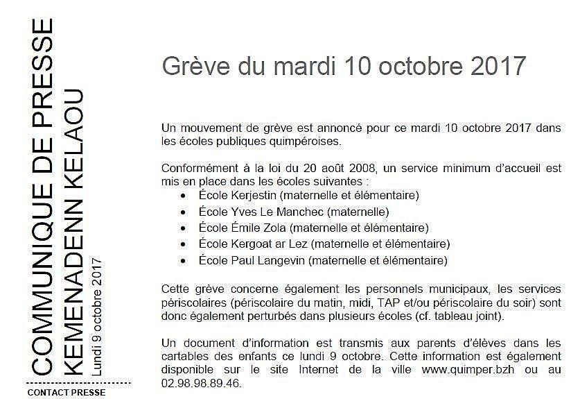 Perturbations dans plusieurs écoles demain 10 octobre (communiqué)