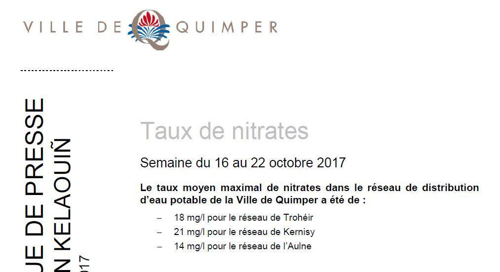 Taux de nitrates à Quimper du 16 au 22 octobre