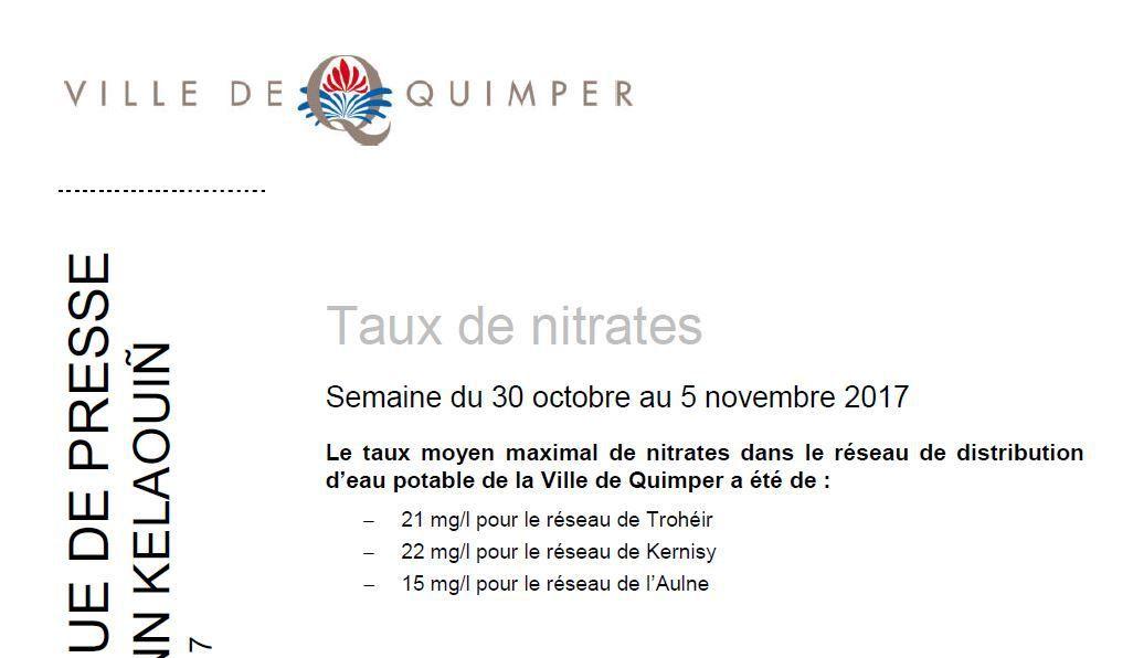 Taux de nitrates à Quimper du 30 octobre au 5 novembre