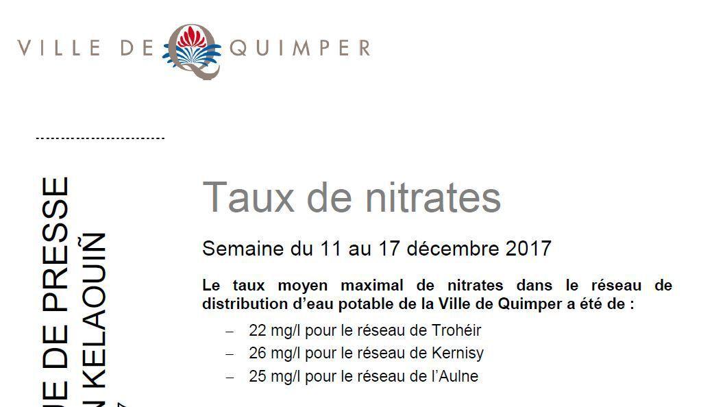 Taux de nitrates à Quimper du 11 au 17 décembre