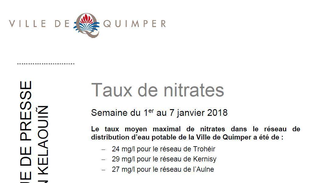 Taux de nitrates à Quimper du 1er au 7 janvier