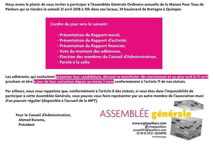 l'AG de la MPT de Penhars aura lieu le samedi 21 avril