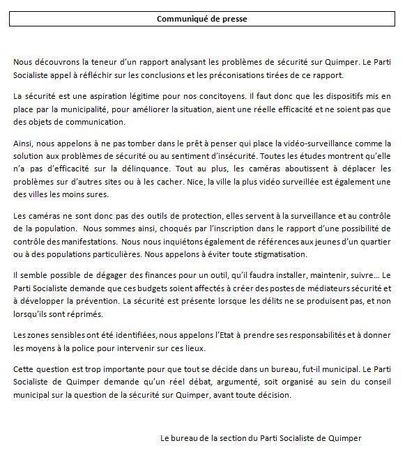 Sécurité - Vidéo surveillance à Quimper : le communiqué de presse du PS
