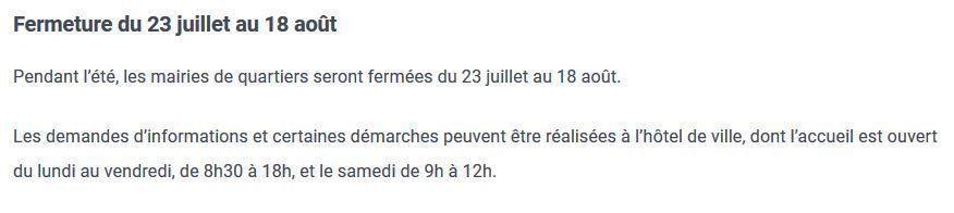Nouveaux horaires dans les trois mairies de quartier à partir du 2 mai (communiqué)