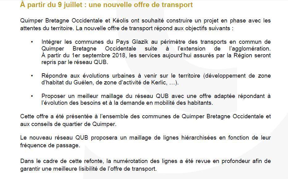 A partir du 9 juillet : nouvelle offre de transport de la Qub sur Quimper Bretagne Occidentale