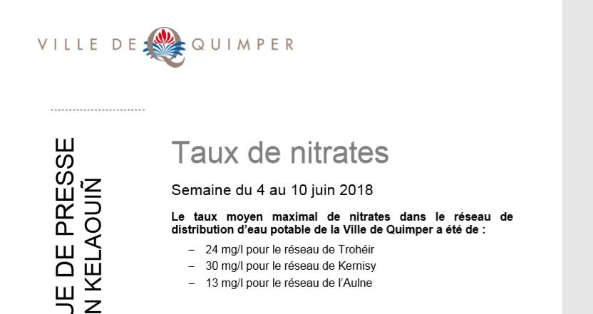 Taux de nitrates à Quimper du 4 au 10 juin