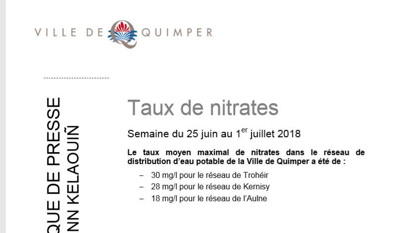 Taux de nitrates à Quimper du 18 au 24 juin et du 25 juin au 1er juillet