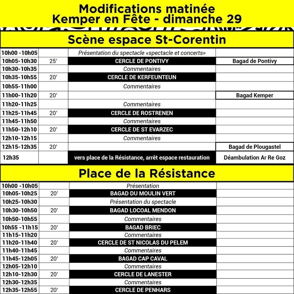 Le défilé du Cornouaille est reporté à l'après-midi/programme du dimanche matin