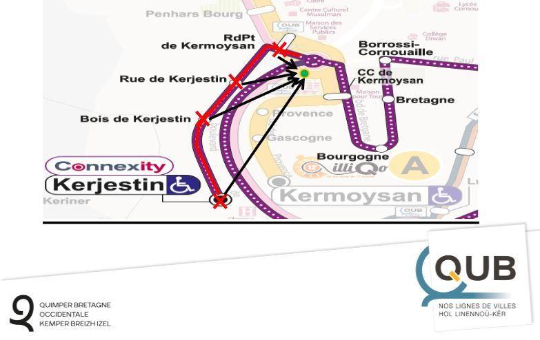 Du 28 août au 4 septembre, pas de bus sur toute la rue de Kergestin (y compris la clinique)