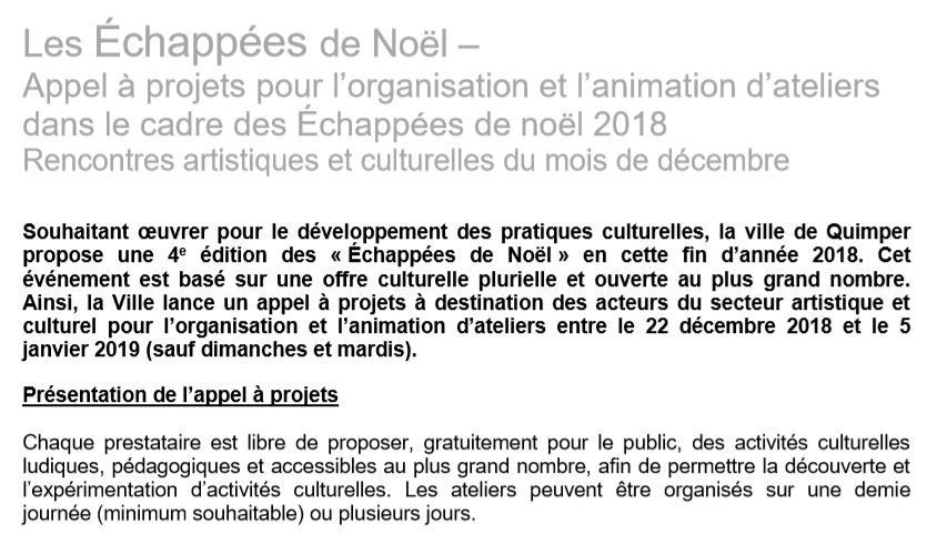 Appel à projets pour les ateliers des Échappées de Noël 2018