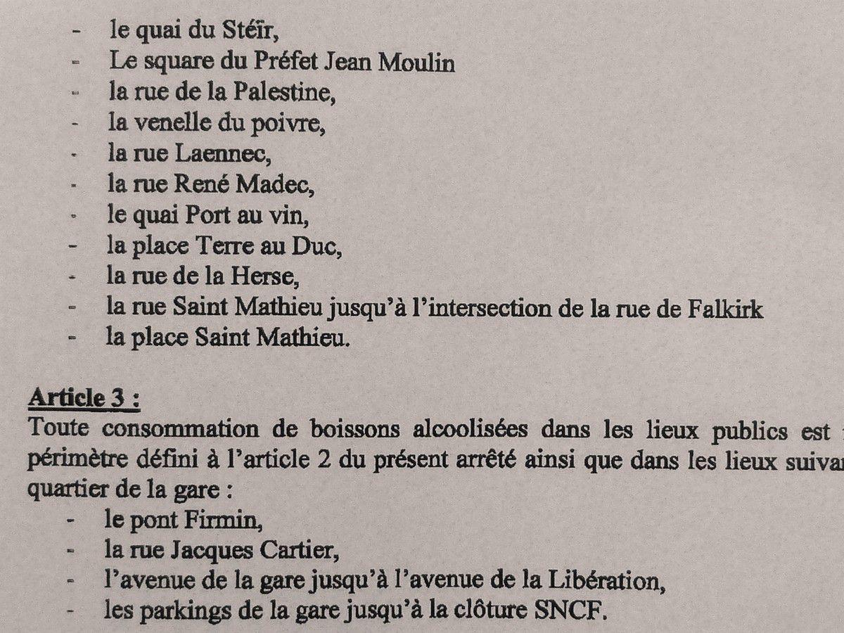 Interdiction (temporaire) de regroupement abusif et de consommation d'alcool sur voie publique dans le secteur des Halles de Quimper