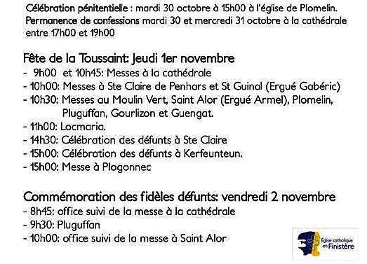 Horaires des offices de la Toussaint à Quimper et paroisse Saint-Corentin