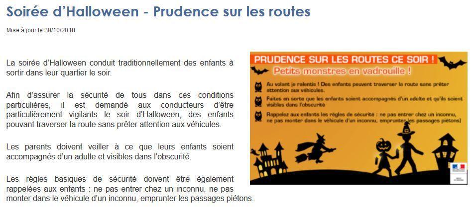 Soirée d'Halloween : recommandations de la Préfecture du Finistère