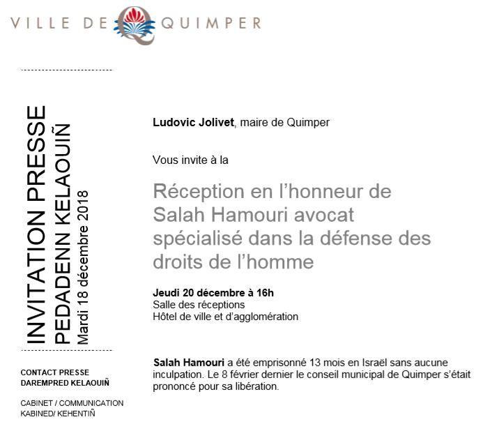 Une réception en mairie de Quimper pour Salah Hamouri