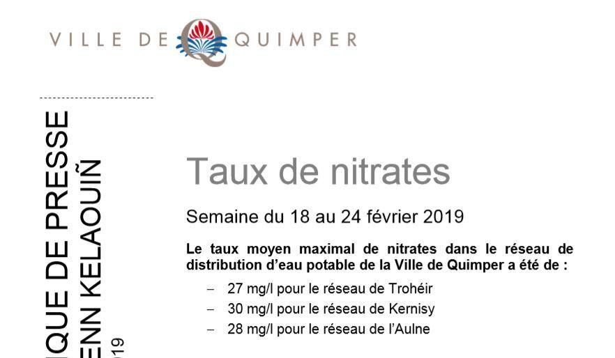 Taux de nitrates à Quimper du 18 au 24 février