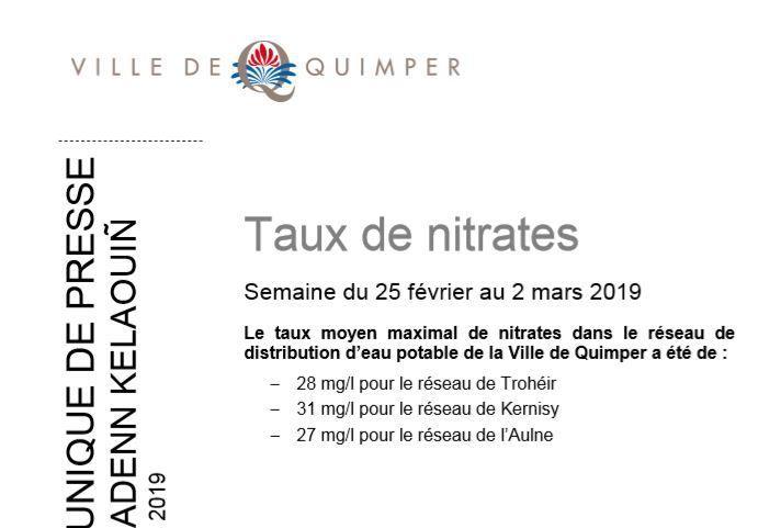 Taux de nitrates à Quimper du 25 février au 2 mars