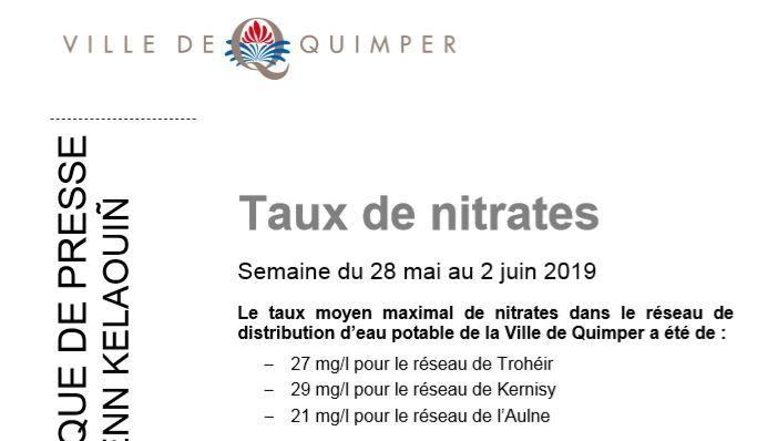 Taux de nitrates à Quimper du 28 mai au 02 juin
