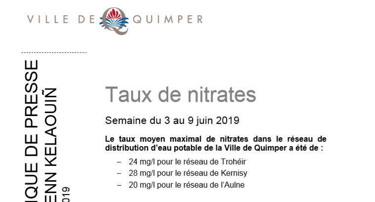 Taux de nitrates à Quimper du 3 au 9 juin