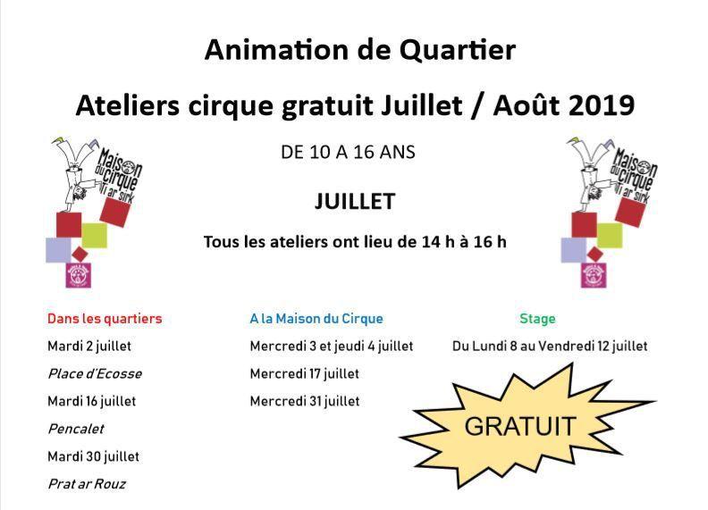 Des ateliers cirque (gratuits) dans les quartiers et à la Maison du cirque juillet/août