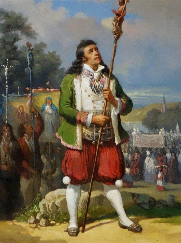 """"""" Homme de Plougastel-Daoulas en procession """" du peintre Louis Caradec (1802-1888)"""