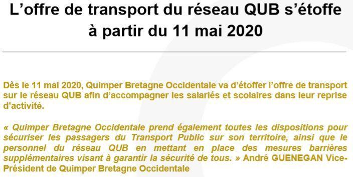 Le réseau QUB : ce qui va changer à partir des 11 et 18 mai 2020