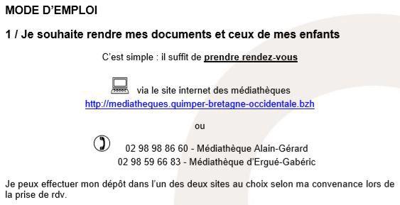 Médiathèques de Quimper : prendre rendez-vous pour rendre ou emprunter livres et documents (communiqué)
