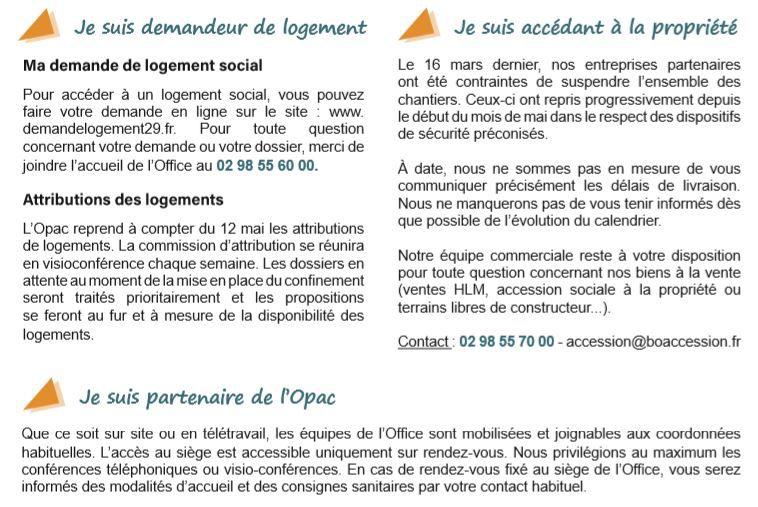 Les mesures en place à L'OPAC de Quimper Cornouaille depuis le 11 mai (communiqué)