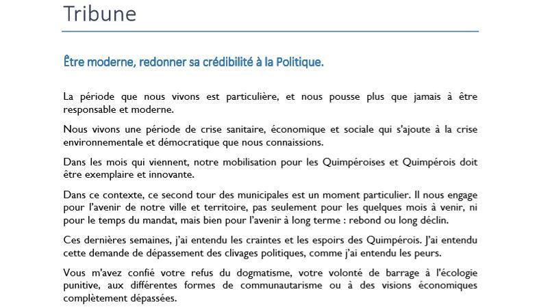 Municipales Quimper : pas de fusion pour Annaïg Le Meur. Elle explique sa décision