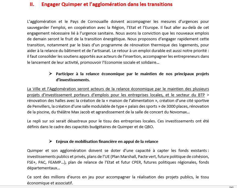 Municipales Quimper : les propositions d'après crise de la liste Quimper ensemble (communiqué)