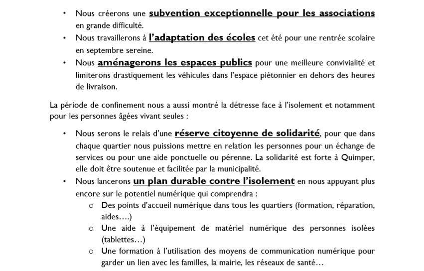 Municipales Quimper : les propositions de la liste Avec Annaïg Le Meur, Enfin de l'audace !