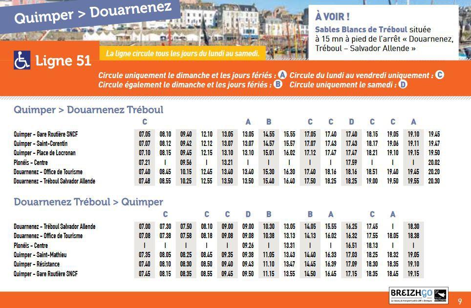 Les horaires des cars pour les  plages, en partant de Quimper et ... Edern