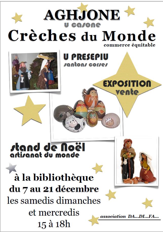 Exposition et vente de crèches du monde en Corse à Aghione du 7 au 21 décembre 2016.