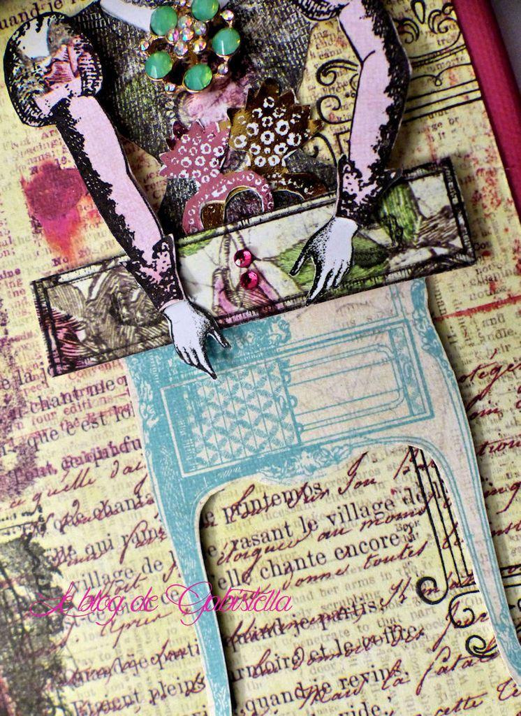 Pour faire mon fond j'ai utilisé les papiers de la collection Fable Garden de Prima auxquels j'ai ajouté de l'encre et différentes collages.