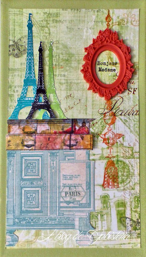 pour ce modèle je me suis servi de la série de tampons Tour Eiffel que j'ai passé à la lamineuse Minc.