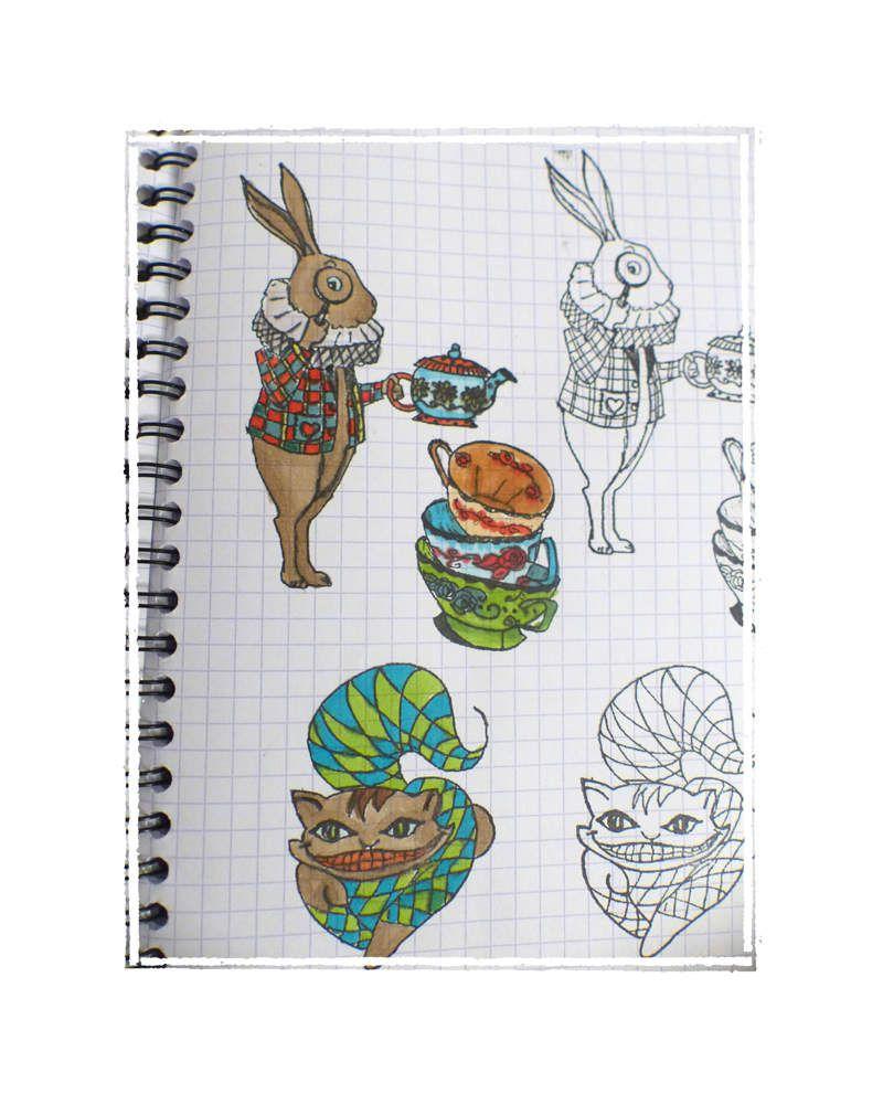 J'ai fait des tests sur mon cahier à empreintes avec les crayons aquarellables.