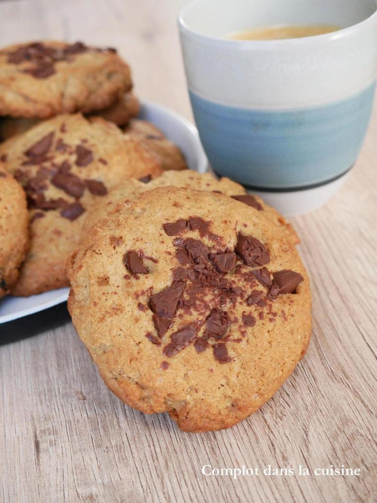 Cookies à la crème de sésame (Tahin) et pépites de chocolat