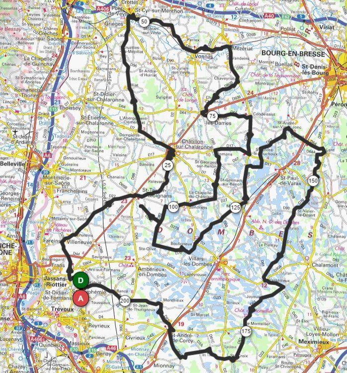 Le parcours 200km projeté openr 929083  206km  1295m
