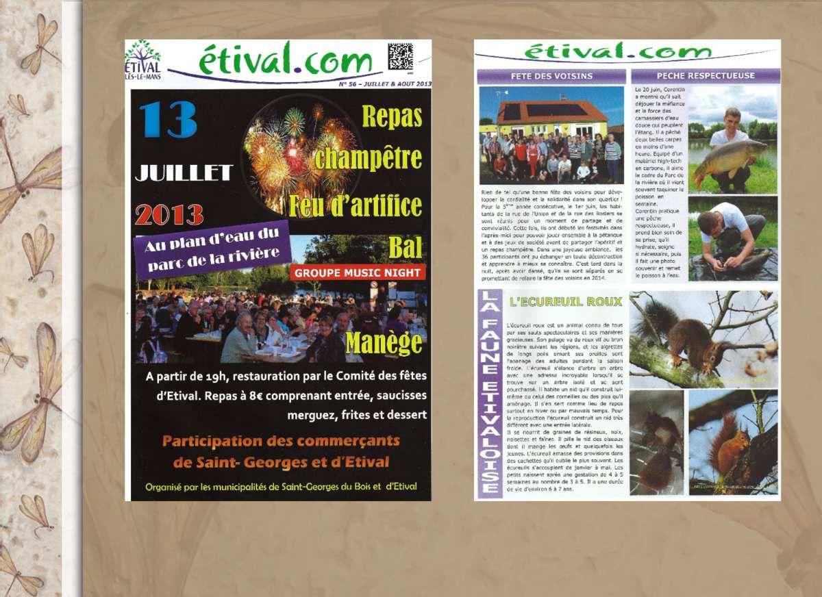 """Publications de la Faune Étivaloise depuis Juillet 2012 dans le journal local """" Étival.com """""""