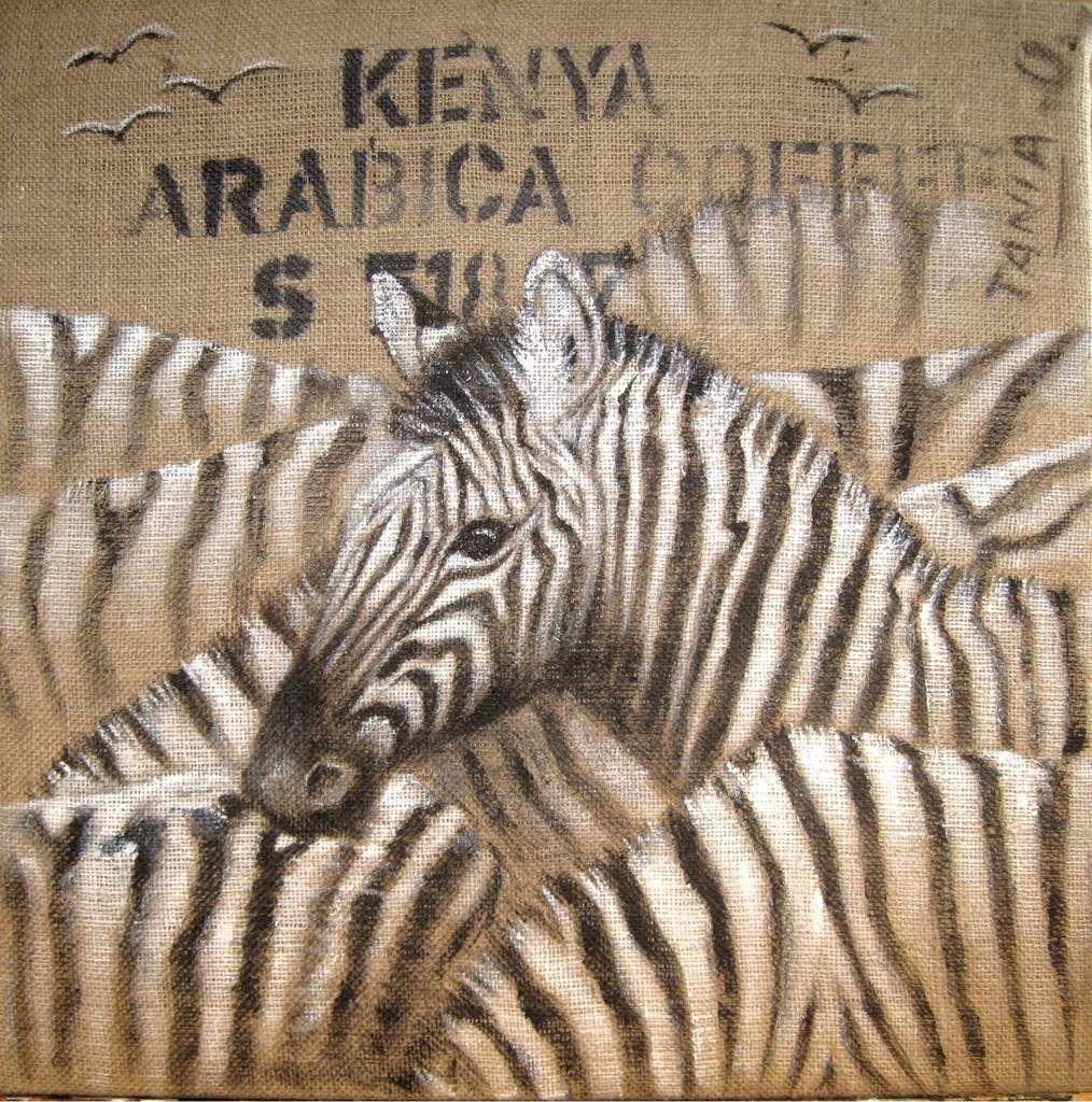 Acrylique sur sac de café africain, tendu sur chassis 60 x 60 cm.  Vendu.