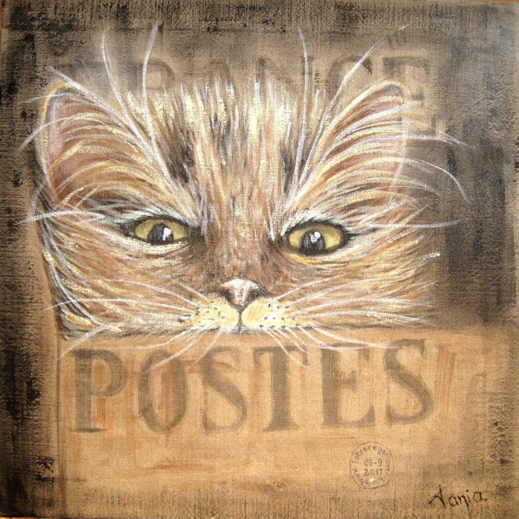 Acrylique sur sac de toile de la poste française  60 x 60 cm.  Vendu.
