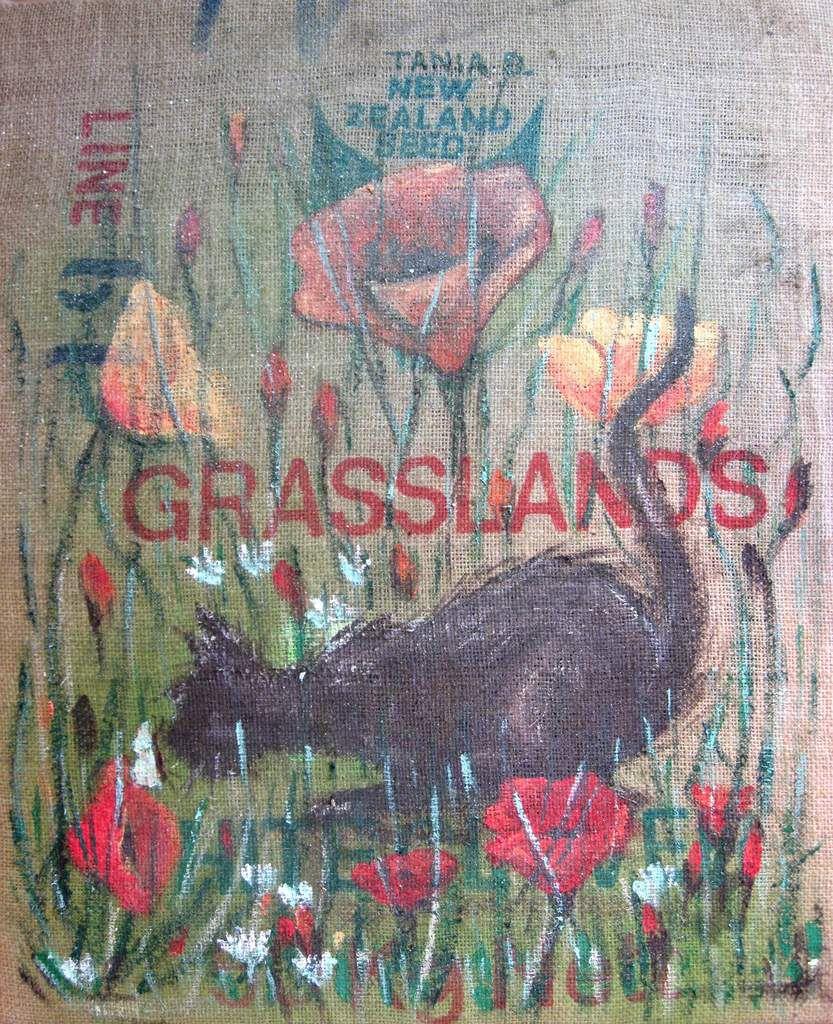 A partir d'un sac de semences d'herbes tendu sur chassis 50 x 65 cm. Offert
