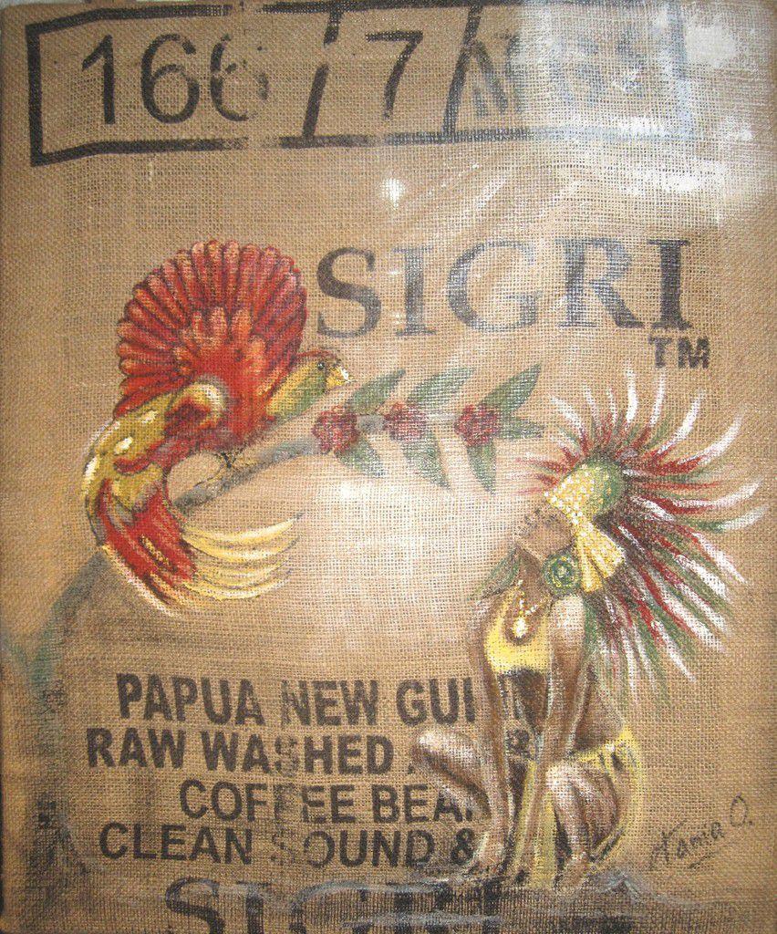 Acrylique sur sac de café, tendu sur châssis bois 65 x 55 cm.   Réservé